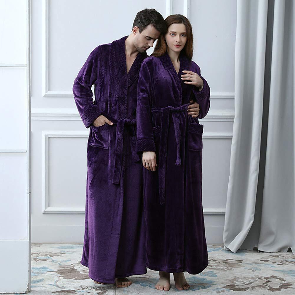 GUOCU Robe de Chambre Luxueuse en Polaire Homme Marine