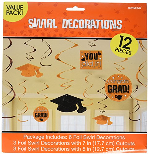Amscan School Colors Graduation Party Swirls with Hanging Cutouts Ceiling Decorations Value Pack, Orange and Black, Plastic, Pack of -