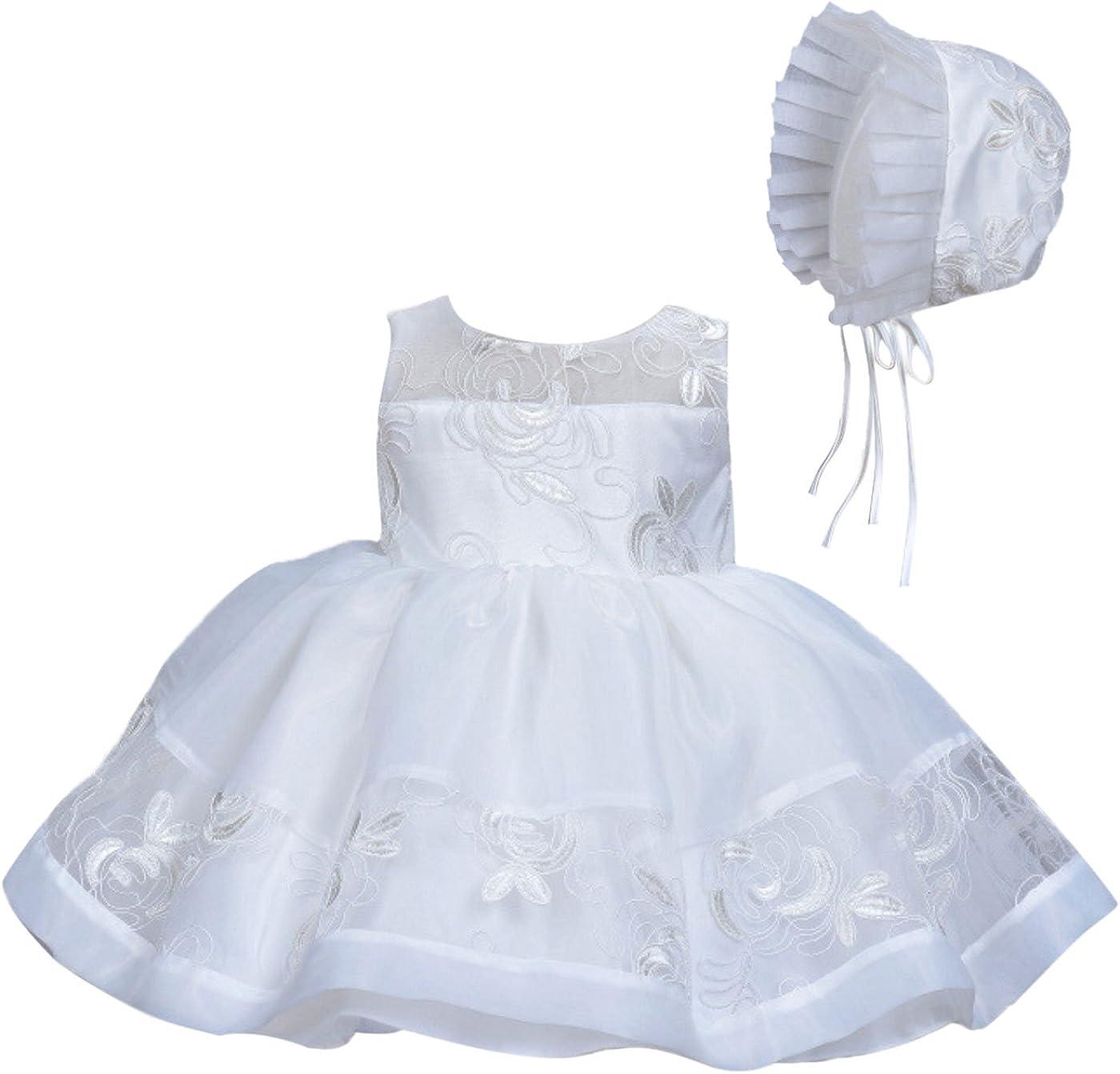Neu Baby Mädchen Elfenbein Weiße Spitze Taufe Partykleid 0 3 6 12 18 24 Monate
