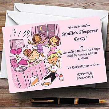 Pijama de color rosa Maquillaje sueño personalizado invitaciones de fiesta
