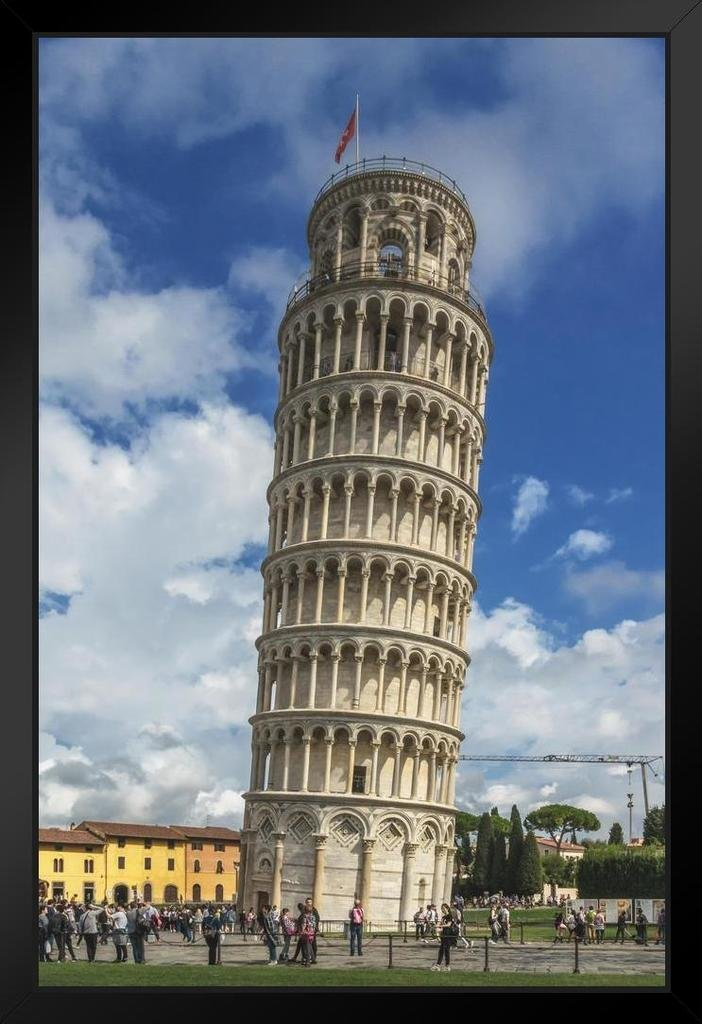 Poster Foundry Leaning Tower of Pisa Italy Photo Art Print Matted Framed Wall Art 20x26 inch