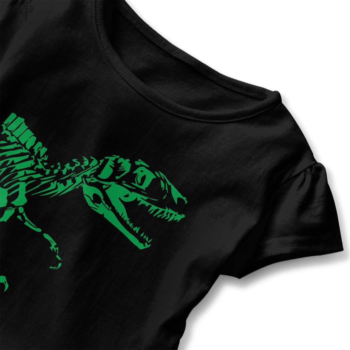 T-Rex Skeleton Childrens Girls Short Sleeve Shirts Ruffles Shirt Tee Jersey for 2-6T