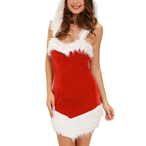 Zhhlaixing Moda per le donne Halloween Ladies Role Playing Stage Dress Hooded Christmas Missy Claus Costume Cosplay Gifts for Women