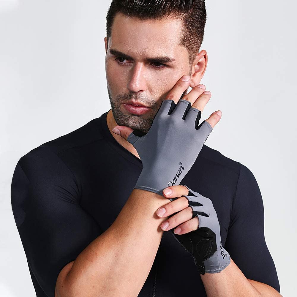 DONEN Mens Cycling Gloves,Half Finger Biking Glove MTB DH Road Bicycle Gloves Gel Pad Shock-Absorbing Anti-Slip Breathable Motorcycle Mountain Bike Gloves Unisex Women