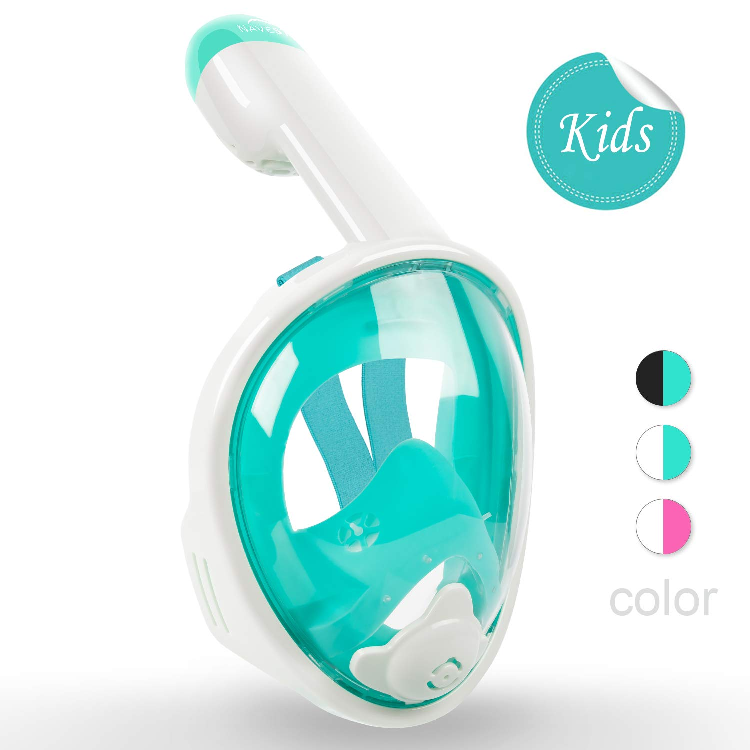 NAVESTAR Snorkeling Mask for Kids - 180° Panoramic View Easybreath Full Face Snorkel Mask with Gopro Mount & Ear Plugs, Anti-Fog & Anti-Leak Underwater Snorkel Mask (Green-White, XS) by NAVESTAR