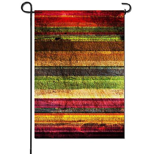 Artsbaba Garden Flag Colorful Wood Rainbow Striped Pattern G