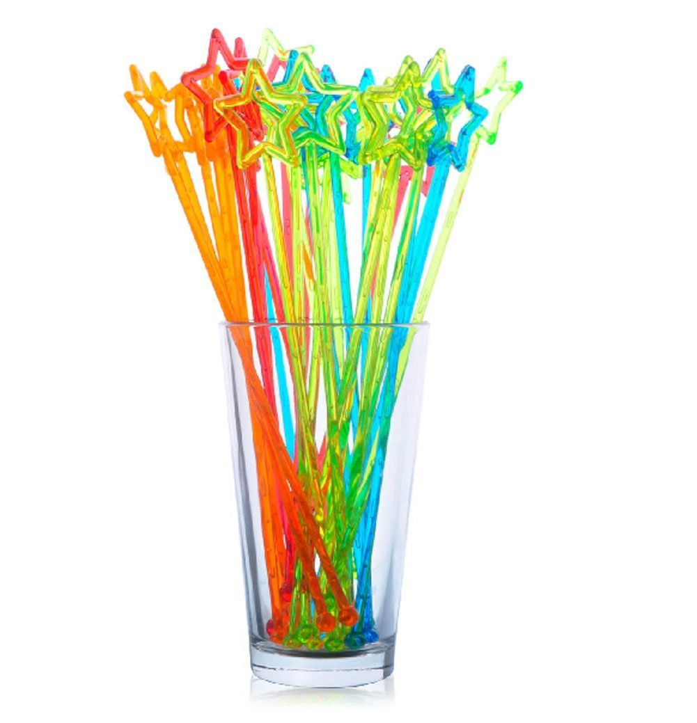 Sealike Assorted Color Plastic Swizzle Sticks Cocktail Drink Stirrers with Stylus (50) by Sealike