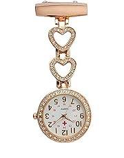 Ladies Heart Steel Nurse Doctor Tunic Brooch Quartz FOB Pocket Medical Watch