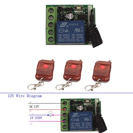 Wireless Relay 12V 10A 1CH Remote Control Switch Momentary Toggle