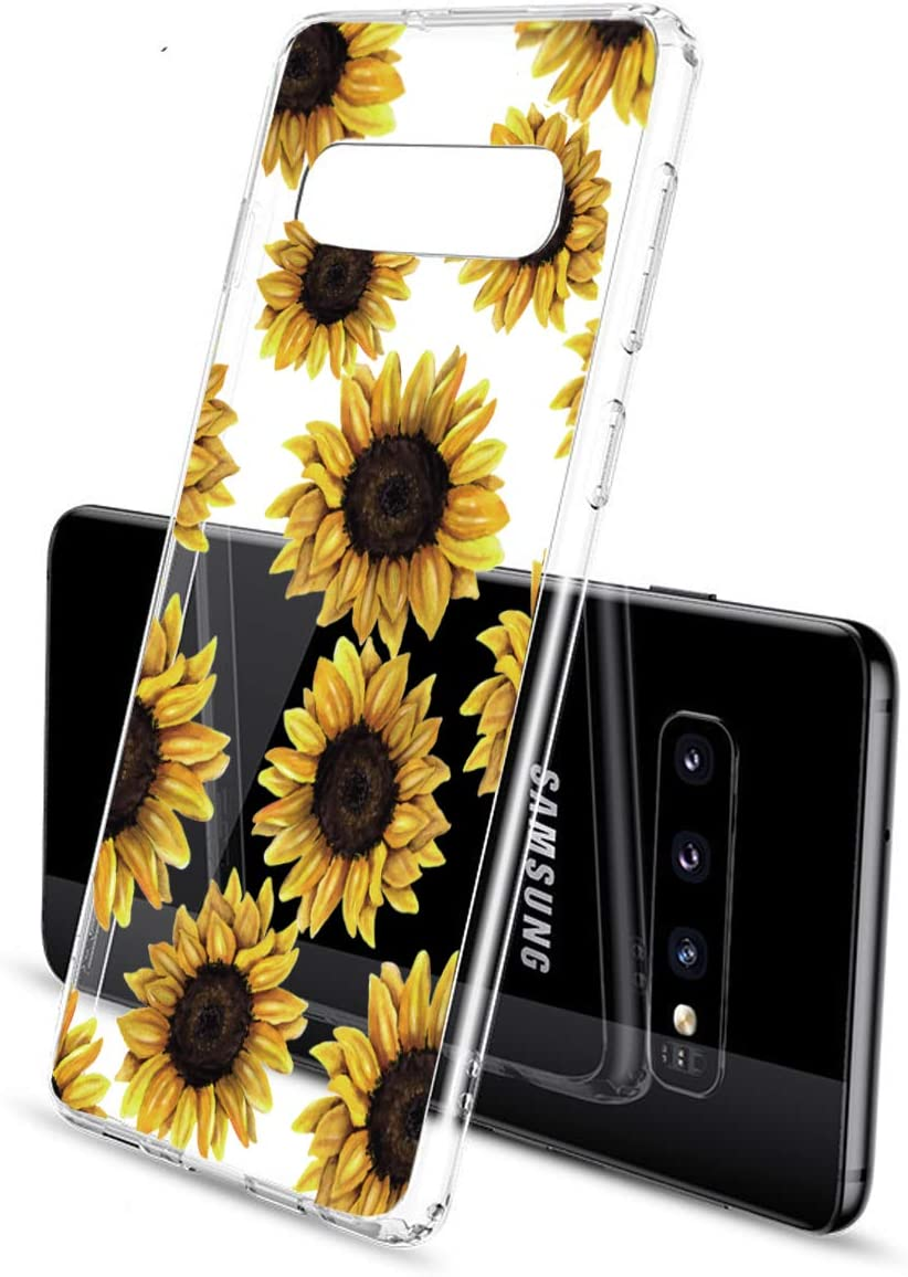 BSLVWG Clear Case For Galaxy S10,flower Floral Flower Pattern Clear Design Transparent Plastic Hard Back Case with Soft TPU Bumper Protective Case Cover for Samsung Galaxy 6.1 inch 2019 Cherry
