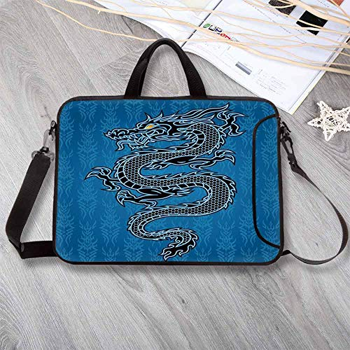 (Japanese Dragon Stylish Neoprene Laptop Bag,Black Dragon on Blue Tribal Background Year of The Dragon Themed Art Decorative Laptop Bag for Business Casual or School,17.3