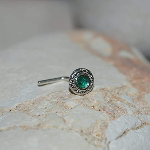 0046b8939 Image Unavailable. Image not available for. Color: 2mm Emerald TRAGUS STUD  EARRING Silver // Nose Hoop ...