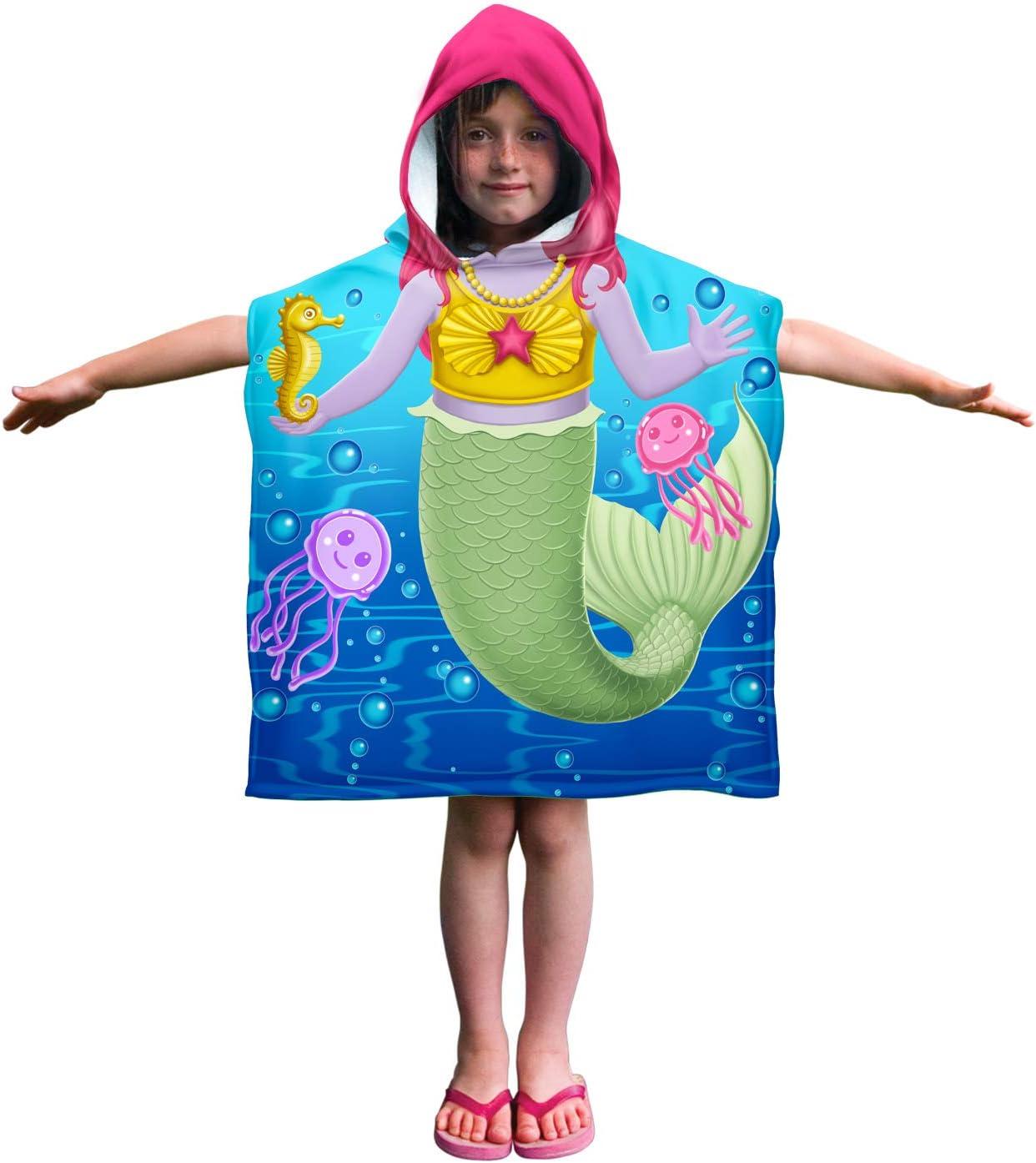Mermaid and Friends Dawhud Direct Kids Super Soft Cotton Hooded Poncho Bath Beach Pool Towel