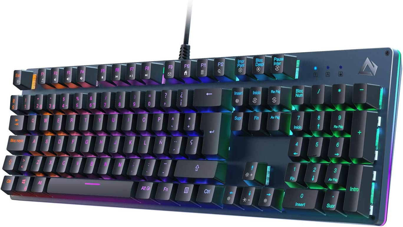 AUKEY Teclado Gaming, Teclado Mecánico con Retroiluminación RGB Personalizable y Switches Azules Táctiles, 100% Anti-ghosting de 105 Teclas con Disposicion Española, Panel de Metal para PC y Laptop