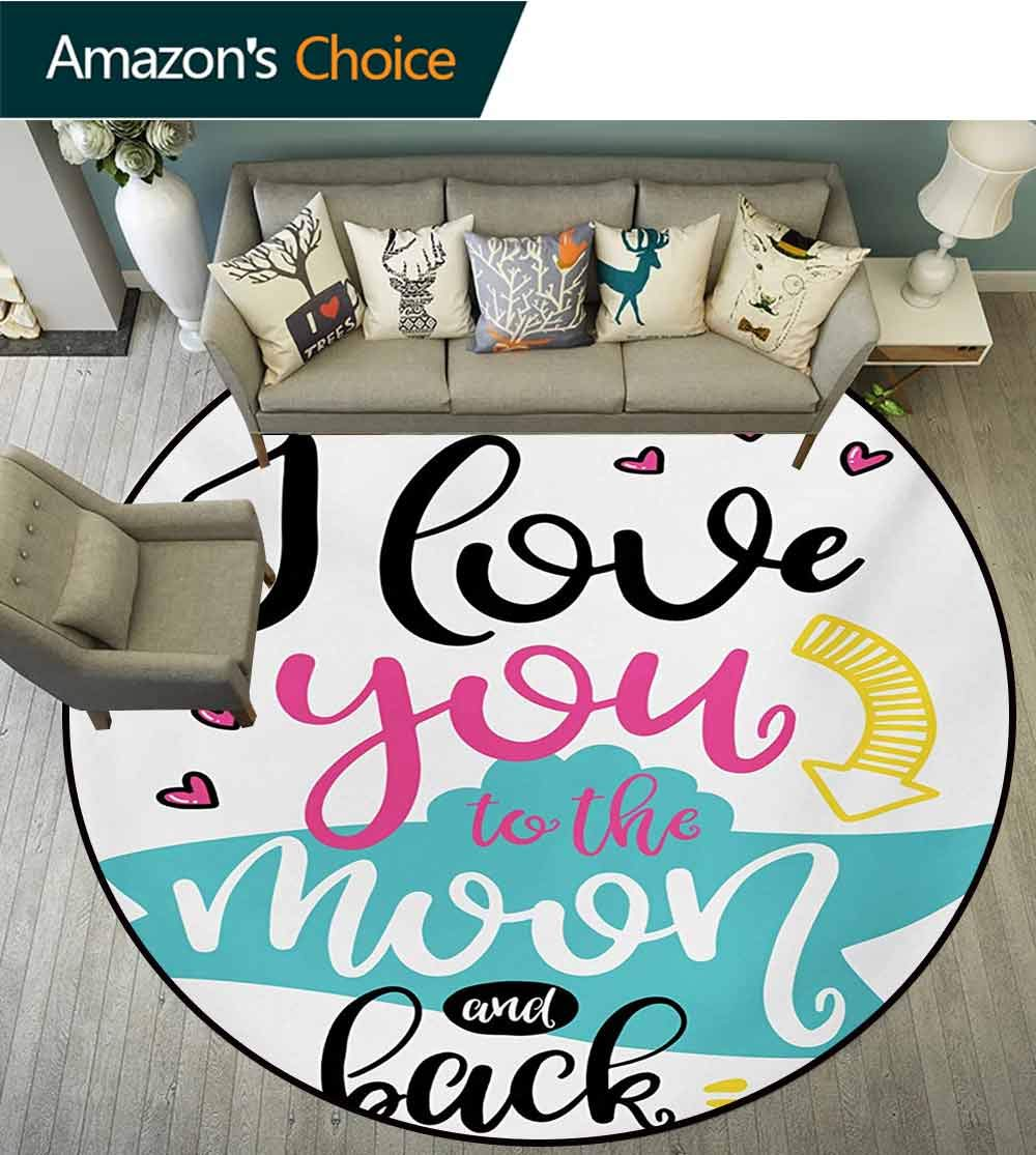 RUGSMAT I Love You Round Rugs for Bedroom,Love You to The Moon and Back Motivational Lifestyle Quote Partners Design Circle Rugs for Living Room,Round-63 Inch Multicolor