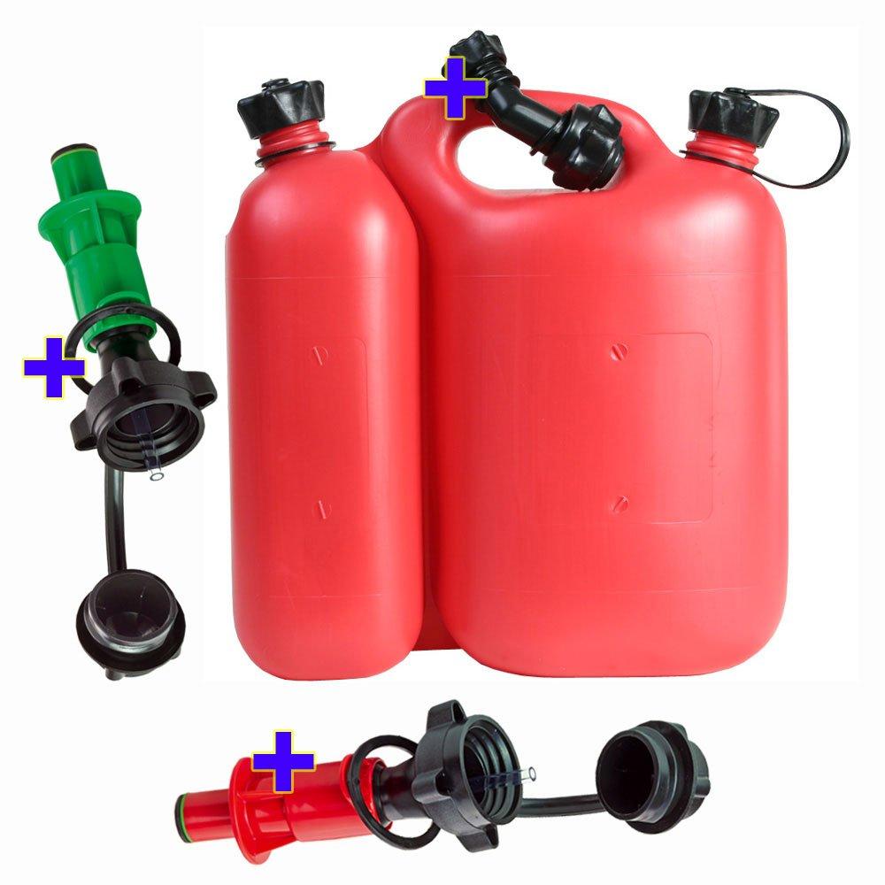 1 Ausgiesser und 2 Sicherheits-Einf/üllsysteme rot und gr/ün Kombikanister Doppelkanister 5,5+3 Liter rot inkl