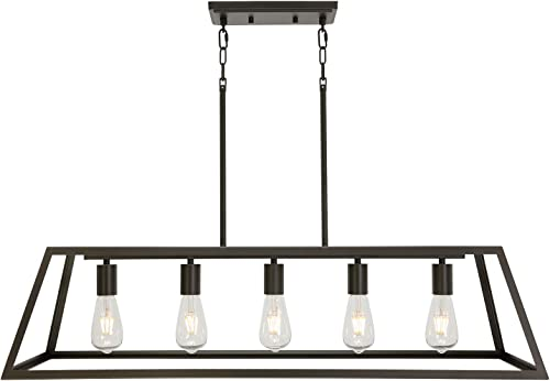 ELUZE 5-Light Vintage Farmhouse Chandelier,Industrial Metal Pendant Light, Rustic Hanging Pendant Light Fixture with Oil Rubbed Bronze Finish for Kitchen Island Dining Room Foyer Table Hallway