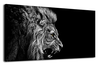Artewoods canvas wall art lion painting modern large panoramic canvas prints artwork contemporary pictures black and