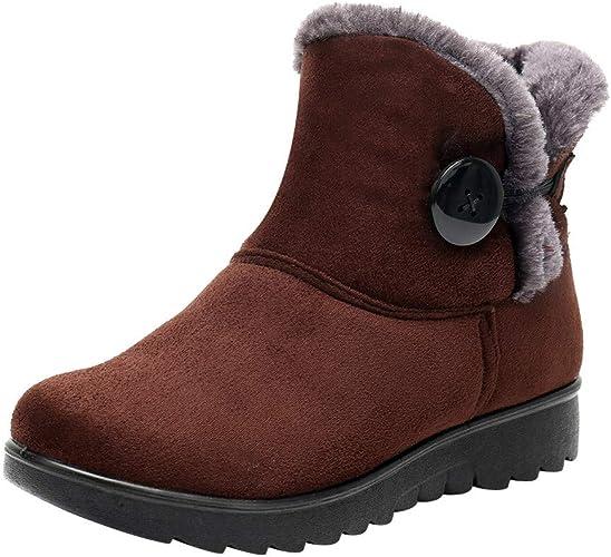 POLPqeD Scarpe Autunno e Inverno da Donna, Stivali da Neve Invernali da Donna con Cinturino alla Caviglia Calzature di Pelliccia Scarpe Calde