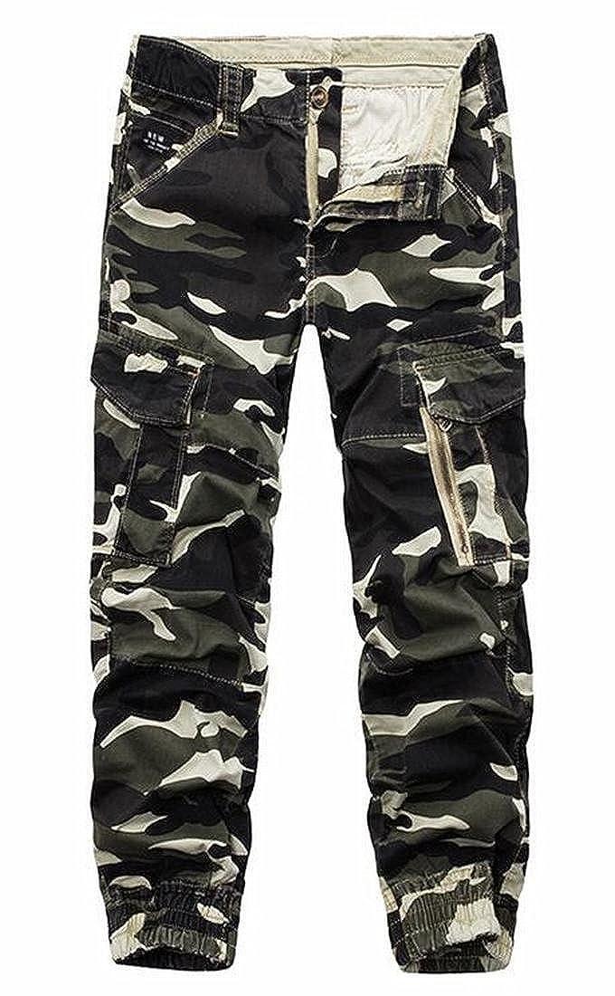 ARTFFEL Mens Casual Multi Pockets Camoflage Ripstop Slim Fit Cargo Pants