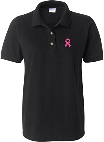 Allntrends Womens Polo T Shirt Pink Ribbon Breast Cancer Support Embroidered