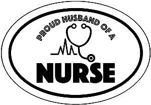 WickedGoodz Oval Proud Husband of a Nurse Decal - Nursing Bumper Sticker - Rn CNA LPN Husband Sticker