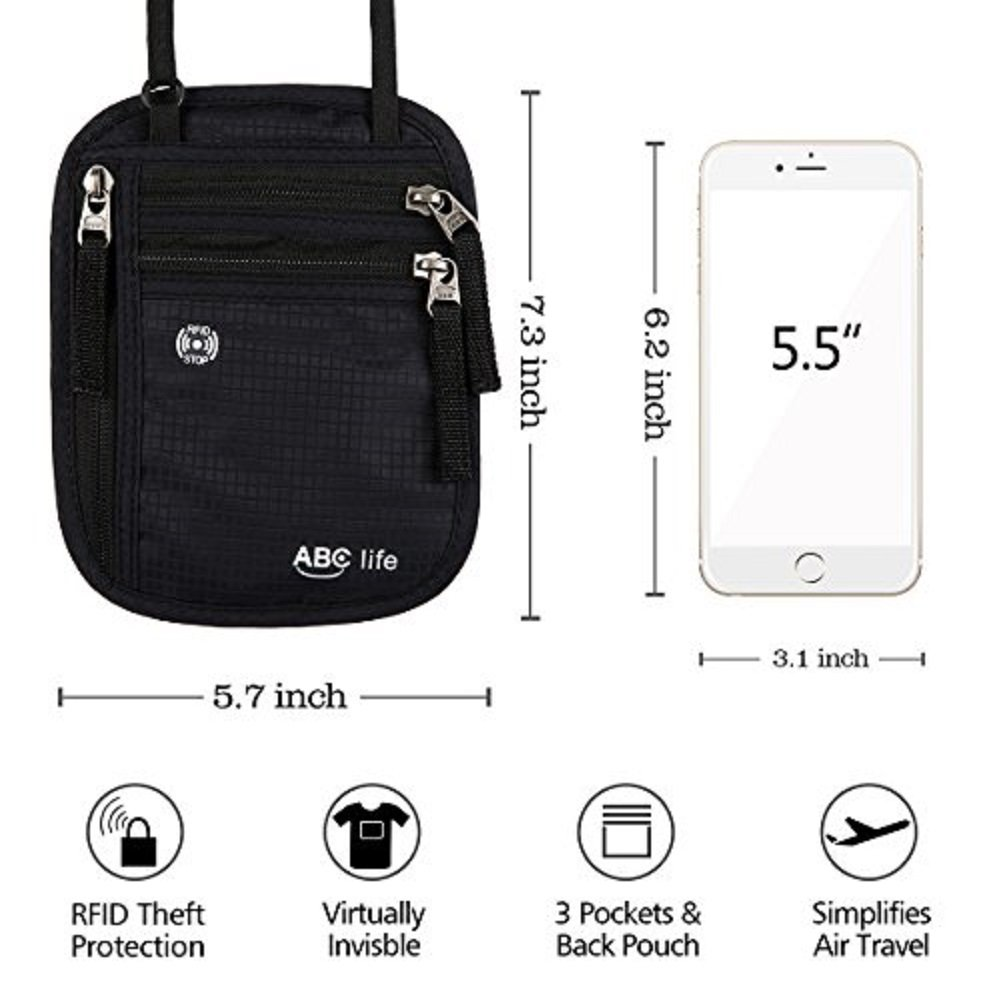 ABC life RFID Passport Holder Neck Travel Passport Wallet Neck Pouch For Women and Men (Black&Grey) … by ABC life (Image #6)