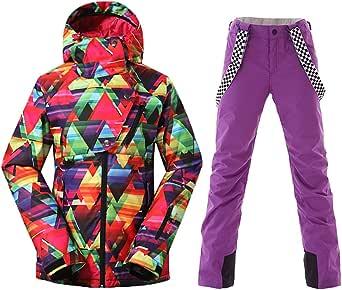 HOTIAN Women's High Windproof Technology Colorful Printed Snowboard Ski Jacket