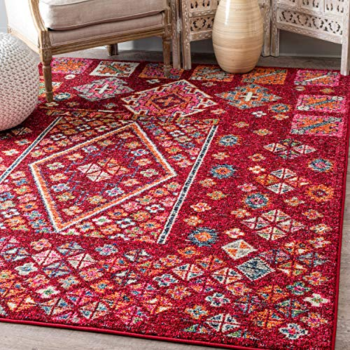 nuLOOM Transitional Tribal Mosaic Diamonds Area Rug, Red, 5