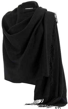 51acf5e30d Charleselie94® - Etole Châle Laine Echarpe Cachemire Poncho Hiver Noir -  Stella - Femme Noir