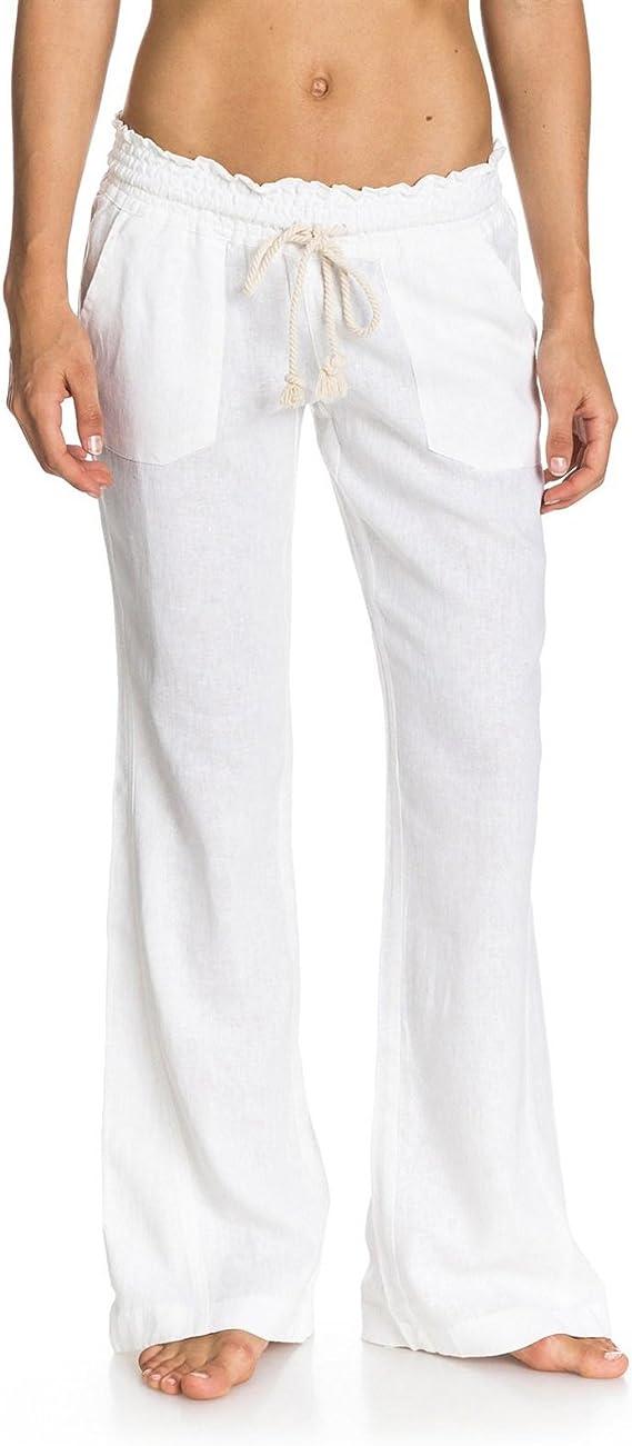 Essentials Damen Hose mit weitem Bein aus Leinen mit Kordelzug