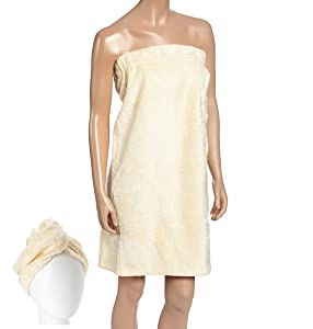 Fabbrica Home Natural Rayon Made From Bamboo Spa Bath Wrap Shower Skirt and Hair Drying Turban 2pc Set (One-size, Creme)