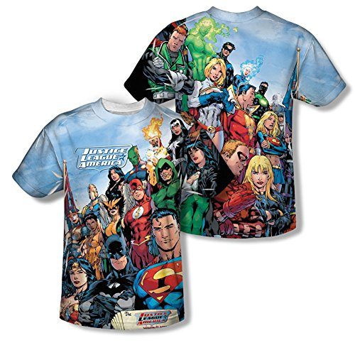 justice+league Products : The League -- Justice League All-Over Front/Back Print Sports Fabric T-Shirt