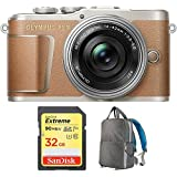 Olympus PEN E-PL9 Honey Brown Body, Silver 14-42mm F3.5-5.6 EZ Lens Kit (V205092NU010) with Sandisk 32GB Extreme SD Memory UHS-I Card & Deco Gear Large Photo/Video Backpac Grey