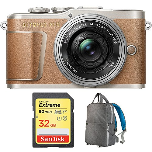 Lens Gray Body - Olympus PEN E-PL9 16.1 MP Wi-Fi 4K Mirrorless Camera Body with Sandisk 32GB Extreme SD Memory UHS-I Card & Deco Gear Large Photo/Video Grey Backpack (Camera and Lens Bundle, Honey Brown + Lens)