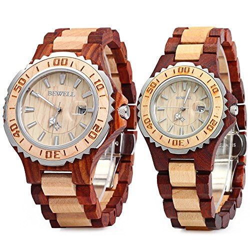 Bewell ZS-100B Couple Quartz Watch 30M Water Resistance Date Display Men Women Wristwatches (FBA)