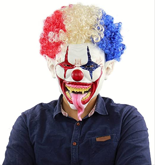 tytlmask Máscara De Miedo Joker con Peluca, Máscara De Látex De ...