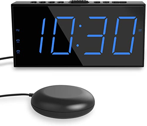 Loud Alarm Clock with Bed Shaker, Vibrating Alarm Clock for Heavy Sleepers, 7 Large Display, Dual Alarm Clock, USB Charger, Snooze, Dimmable and Battery Backup, Digital Clock Bedroom Bedside Home