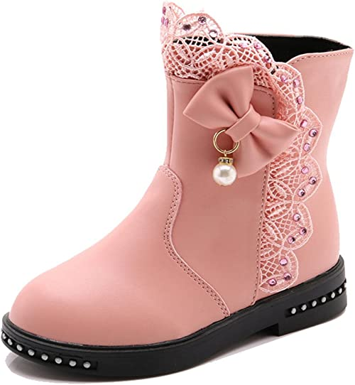iDuoDuo Girls Boys Solid Pull on Plush Shoes Outdoor Warm Dress Snow Boots