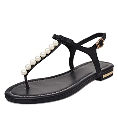 6217d6e25a60 VogueZone009 Women s Cow Leather Solid Buckle Split Toe No Heel Flip-Flop- Sandals