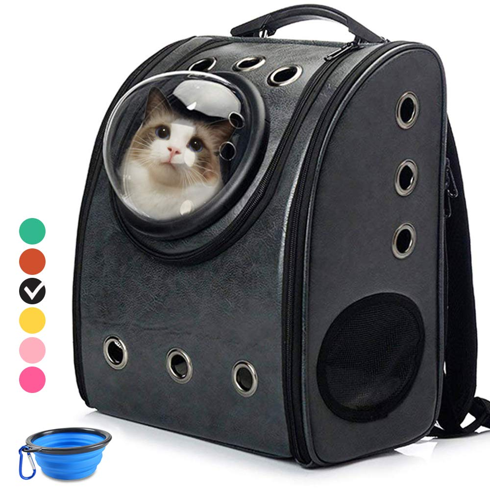 Cat Backpack Carriers, Cat Dog Bubble Backpack, Aukor Pet Carriers for Puppy Petite Dogs and Cats, Ventilated Cat Carrier Airline-Approved for Travel, Hiking, Walking, Outdoor Use, Black