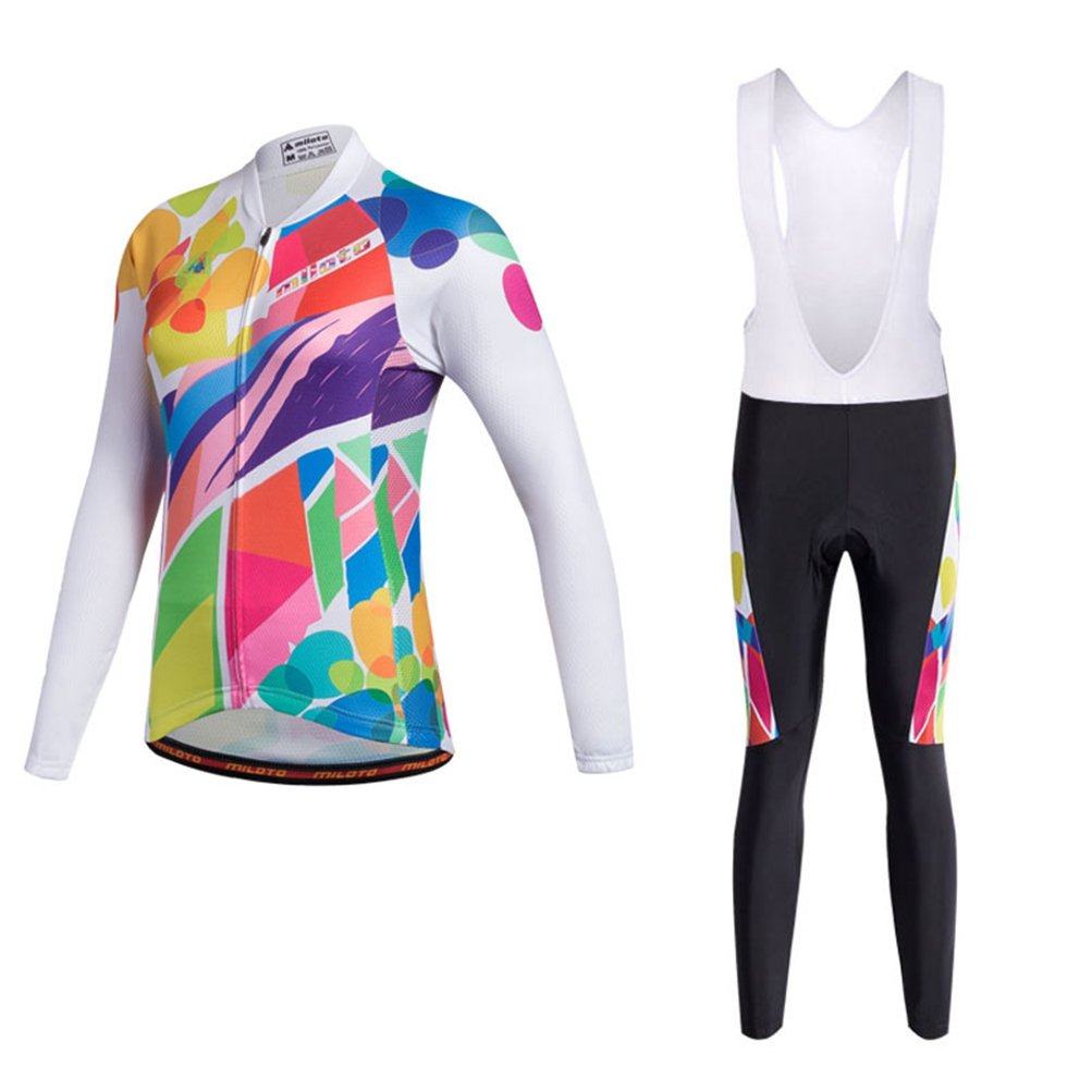 Uriah Women's Cycling Jersey Bib Pants White Sets Long Sleeve Reflective Doodles Size XL(CN) by Uriah