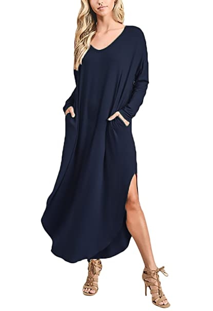 7d71d8d5c9445 Mujer Vestidos Largos Casual Otoño Elegante Moda De Marca V Cuello Manga  Larga Color Sólido Loose Party Vestido De Fiesta Vestidos Informales   Amazon.es  ...