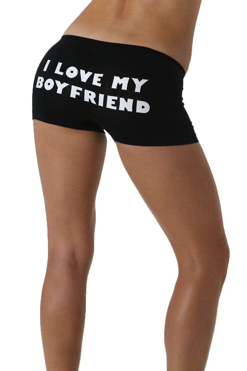 Make Me Laugh Women's I Love My Boyfriend Boy Shorts One Size Fits All (Small - XL) Black