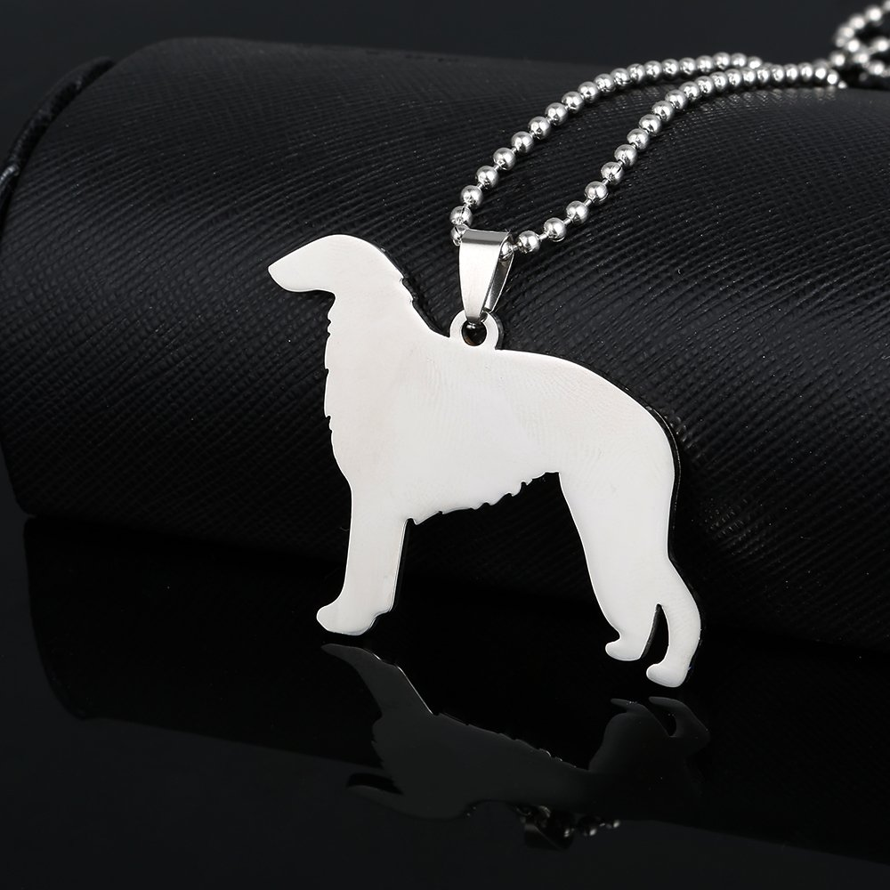 Stainless Steel Borzoi Russian Wolfhound Psovoi Dog Pet Dog Tag Breed Collar Charm Pendant Necklace by Dogdotnet