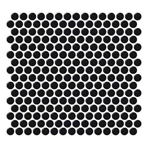 Daltile Retro Rounds Penny Round Mosaic Canvas Black Matte RR15 (Daltile Canvas)