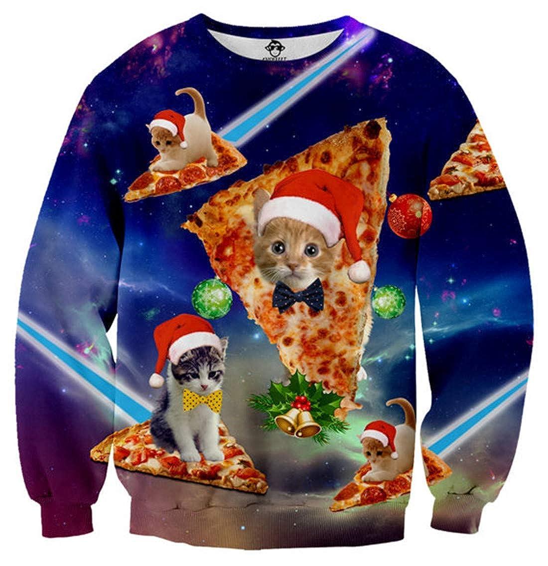 Idgreatim Unsiex Ugly Christmas Pullover Sweatshirts 3D Print Novelty Xmas Elf Long Sleeve Sweater