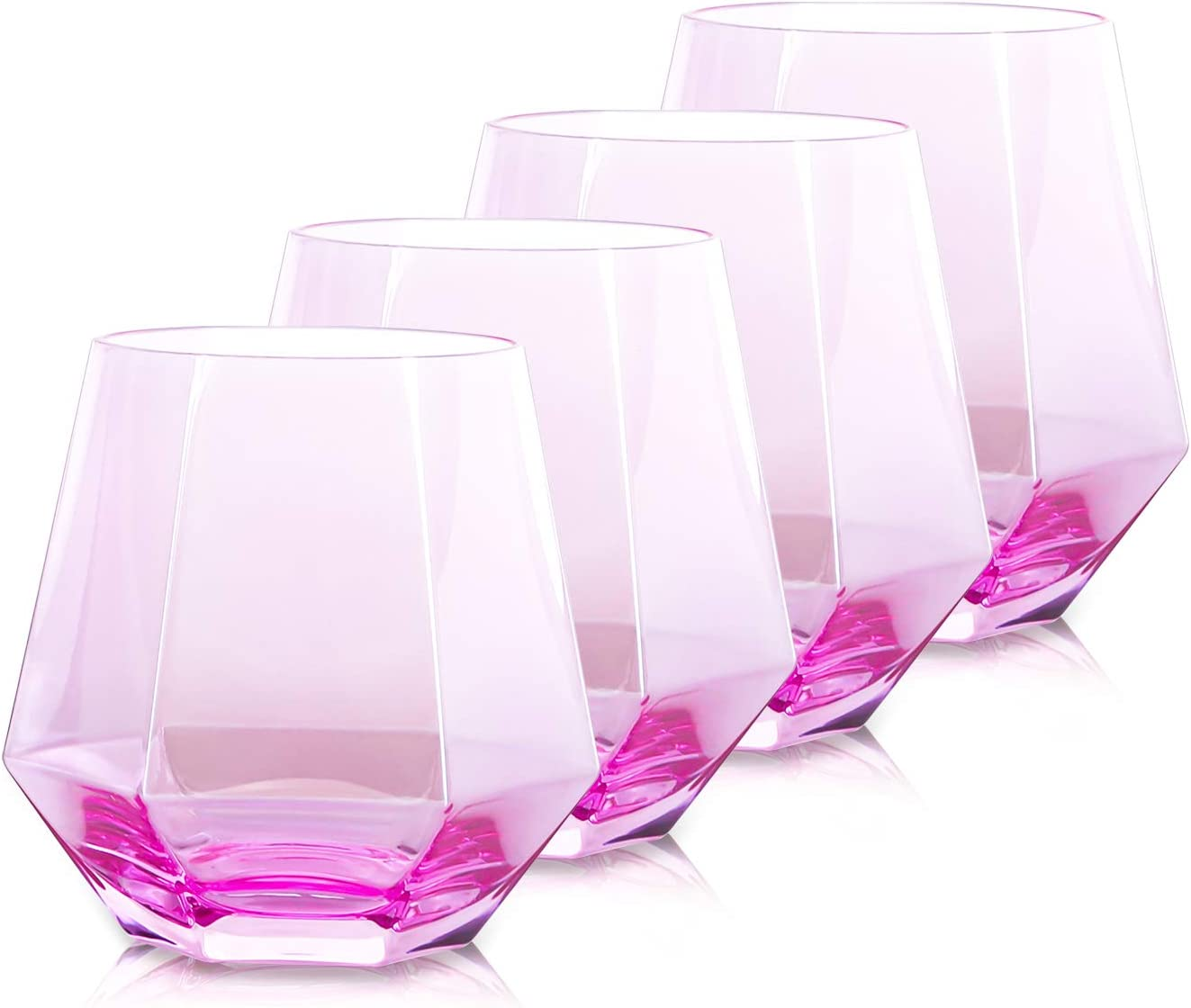 Pink Drinking Glasses Set of 4, Beasea 10 oz Whiskey Glasses Wine Glass Cocktail Glasses Diamond Whiskey Tumblers Old Fashioned Scotch Glass for Bourbon & Rock Style