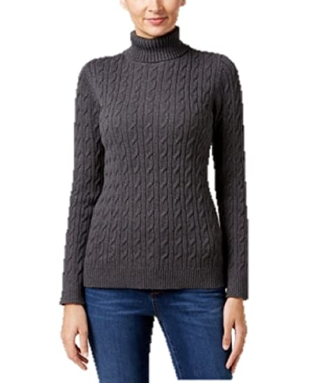 Charter Club Cable-Knit Turtleneck Sweater in Charcoal Heather ...