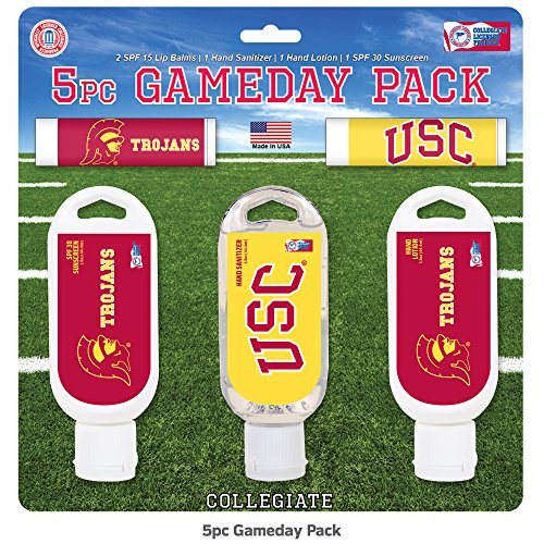 Worthy Promotional NCAA USC Trojans 5-Piece Game Day Pack with 2 Lip Balms, 1 Hand Lotion, 1 Hand Sanitizer, 1 SPF 30 Sport Sunscreen -